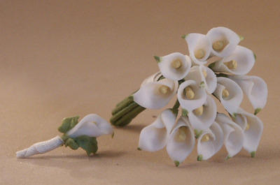 Mini Calla Lily Bouquet and Boutonniere 1:12