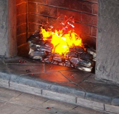 Closeup of Fire and glowing embers on hearth