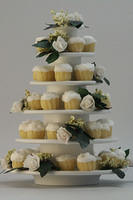 White Rose Wedding Cupcake Tower 1:12 Miniature