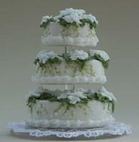 Gardenia and Lily-of-the-Valley Wedding Cake