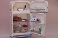 Refrigerator doors open.