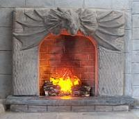 Dragon Fireplace with roaring fire