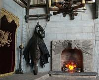 Hanging Dragon Skin Trophy and Fireplace